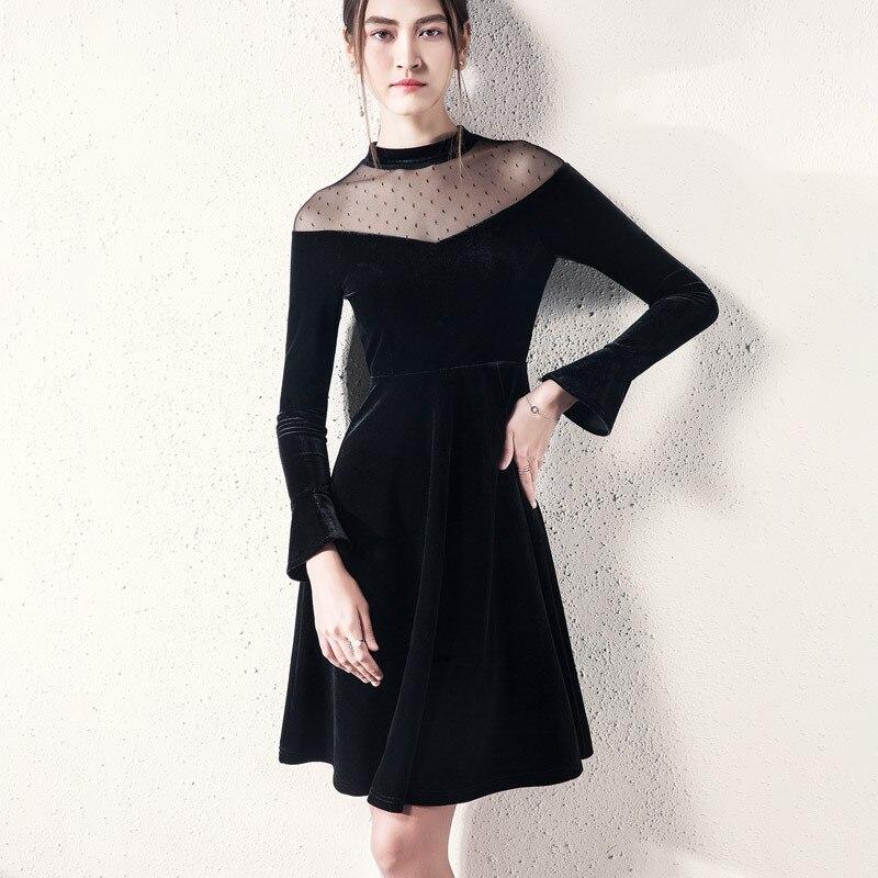 Flare Manches Taille Asymétrique Noir Robe Pour Femmes Femme Haute Robes Mesh Français Une Épissage Velours 10P74q0w