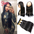 Brazilian Virgin Hair Straight 360 Lace Frontal With Bundles 4pcs lot  360 Lace Virgin Hair Brazilian Straight Hair With Closure