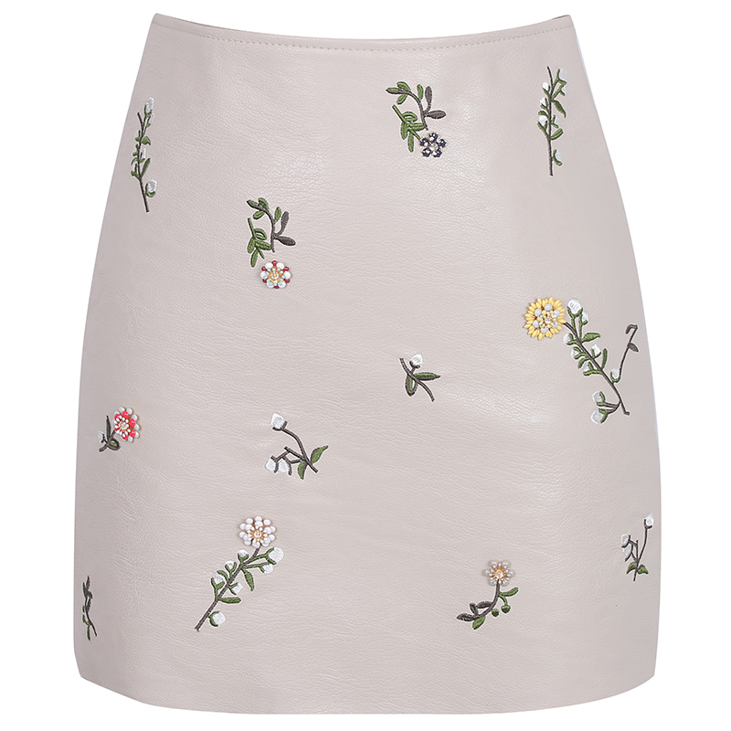 2018 New Winter font b Women s b font PU Leather Skirt Three dimensional Beads Embroidery