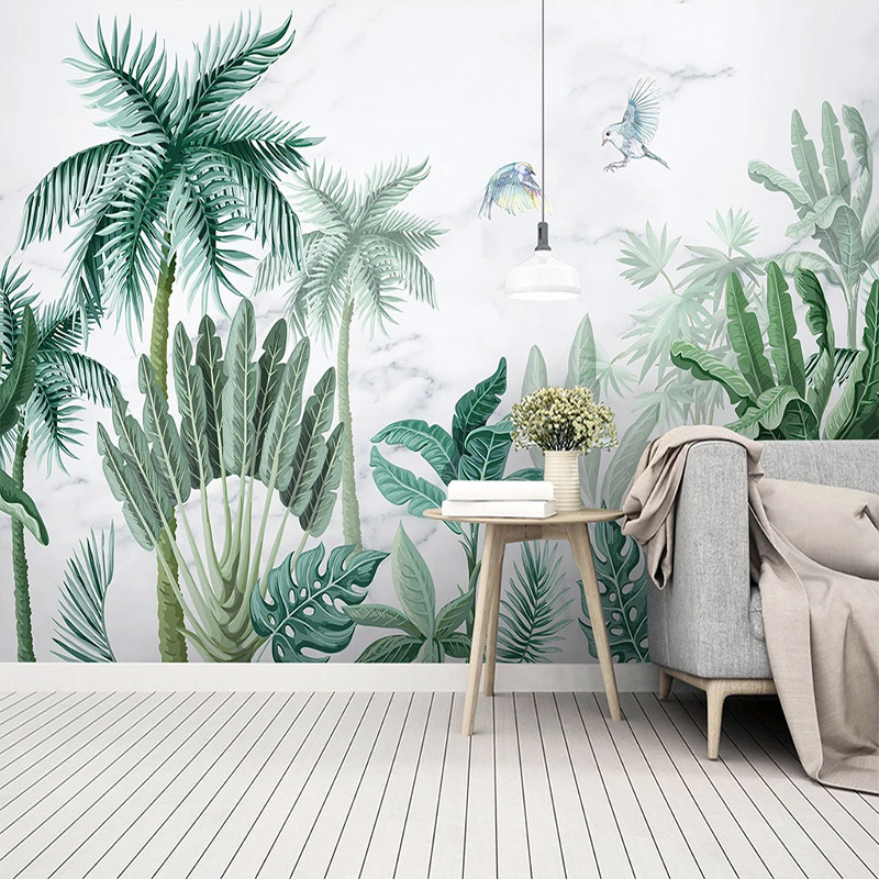 Custom Mural Wallpaper 3D Hand-painted Tropical Rain Forest Plant Landscape Wall Painting Living Room Self-Adhesive 3D Stickers
