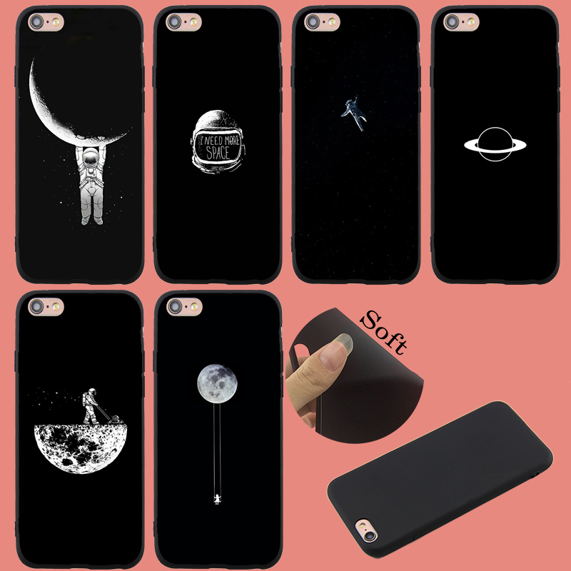 For Iphone 7 7Plus Case Lovely Space Planet Astronaut Moon Soft Tpu Cover Case For Iphone 8 8Plus 6S 6Plus X XS XR XS MAX 5S SE