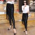 5xl más el tamaño panty de las mujeres primavera otoño 2016 bermuda feminina pu borlas de cuero de la puntada negro delgado legging del cordón femenino A1581