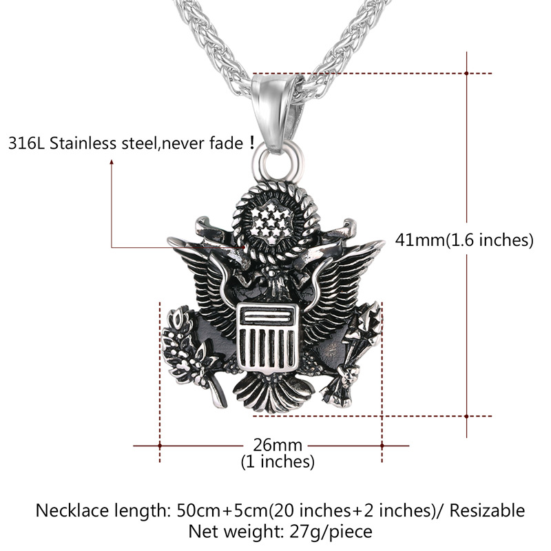 Collare US Seal Pendant Men Great Seal of the America Jewelry Stainless Steel Eagle Military Insignia Necklace Women P059