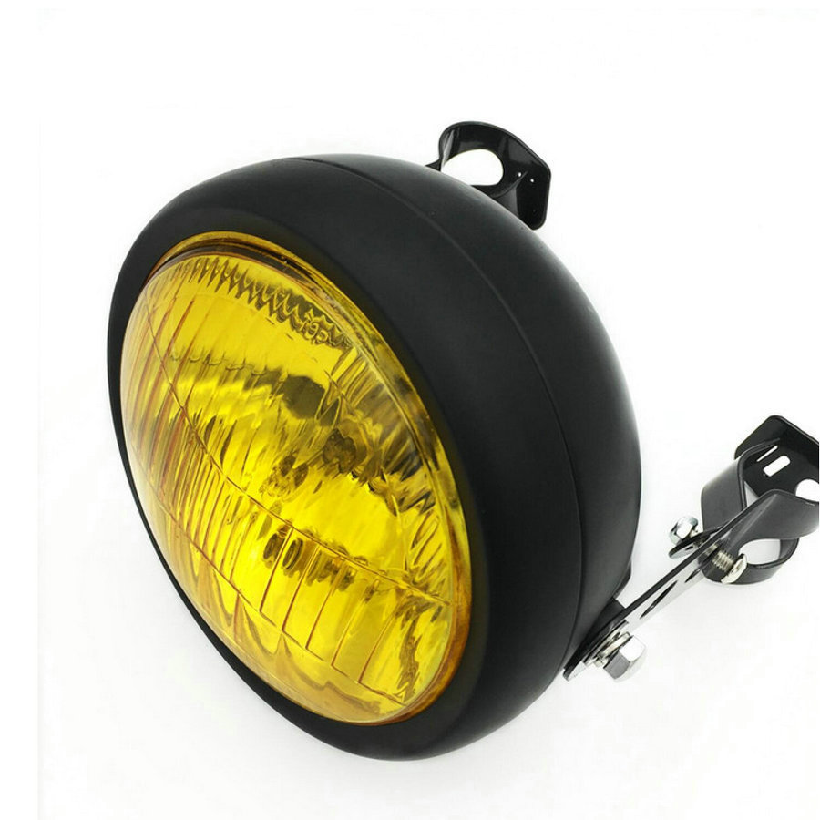Motorcycle Headlight Chrome Yellow Cafe Racer Headlight Decorative Protective Metal Lighting Modified Motorbike Rear Light