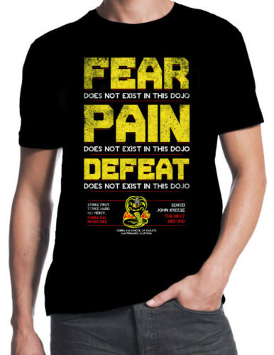 2019 Funny Cobra Kai Fear Pain Defeat Does Not Exist In Dojo 80S Party Karate Movie T-Shirt Unisex Tee image