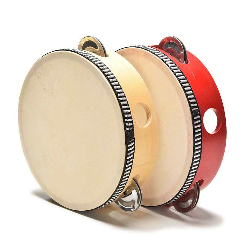 Musical Tambourine Beat Instrument Hand Drum Childrens Kids Musical Tambourine Wooden Drum Rattles Educational Toy