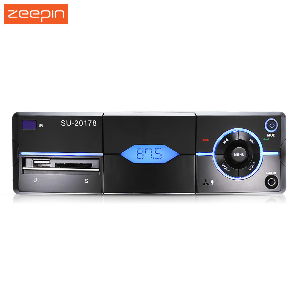 Zeepin 1 Din Car Radio Player Bluetooth Car MP3 Player FM Aux USB TF Auto Audio With Remote Controller Phone holder Autoradio 1 1 lcd car mp3 player fm transmitter with remote controller black 12 24v