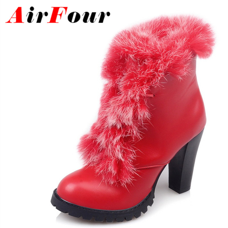 Airfour Fashion New Shoes Woman Winter High Heels Fur Lace-up Ankle Boots Red Black Charm Platform Women Boots Plus Size 34-47 size 34 42 high quality short boots add fur platform winter shoes woman 2016 fashion thick high heels lace up shoes for women