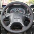 Black Leather Hand-stitched Car Steering Wheel Cover  for Mitsubishi Pajero Old Mitsubishi Pajero Sport