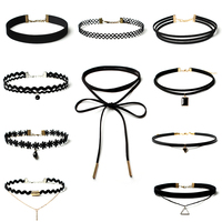 10 Pcs/pack Black Lace Leather Velvet strip Choker Necklace Torques Multi layers Collar Women Statement Jewelry