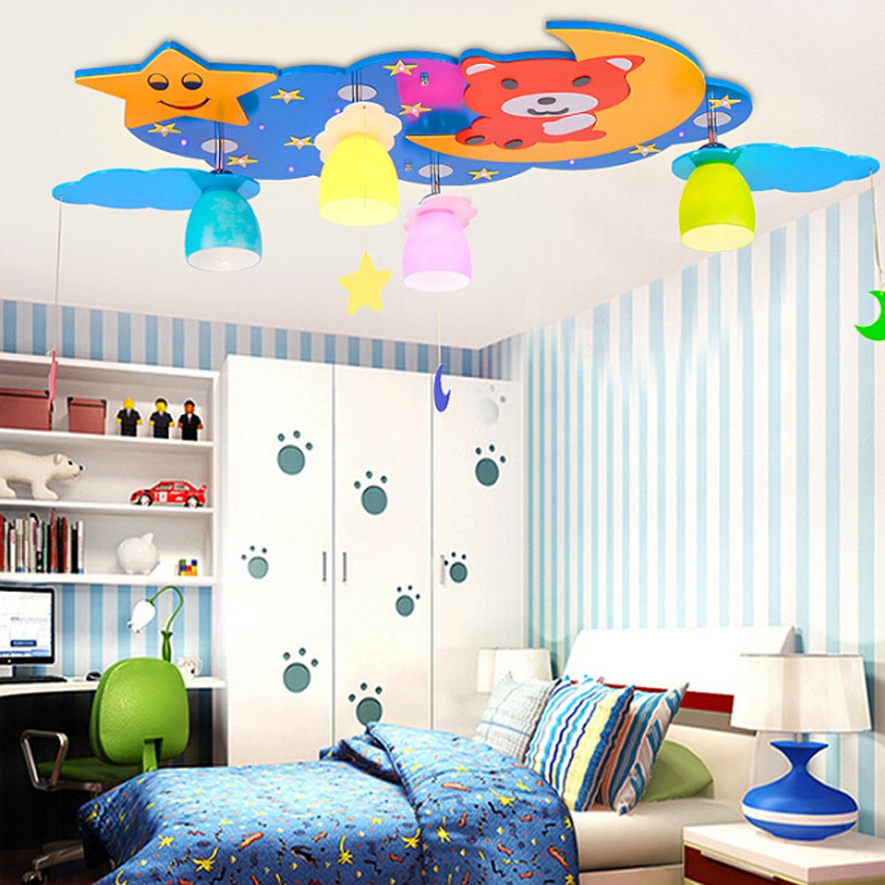 Kids bedroom ceiling lights - Star Bear Children Room Led Ceiling Light Lamp 110v 220v E27 Kindergarten Ceiling Lights Kids