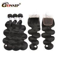 Brazilian Hair Weave 3 Bundles With Closure Gossip Body Wave Lace Closure With Human Hair Bundles