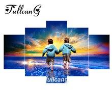 FULLCANG diy diamond painting two boys full square embroidery pattern 5d mosaic 5pcs/set F1081