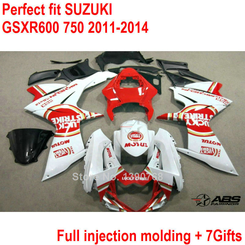 Fairing kit for Suzuki injection molding GSXR600 GSXR750 11 12 13 14 white red fairings set GSXR 600 750 2011 2012 2013 2014 HZ1 hot sales yzf600 r6 08 14 set for yamaha r6 fairing kit 2008 2014 red and white bodywork fairings injection molding