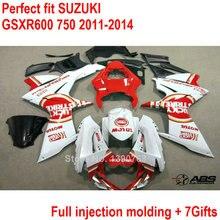 Moldeo por inyección kit de carenado para Suzuki GSXR600 GSXR750 11 12 13 14 blanco rojo set de carenados GSXR 600 750 2011 2012 2013 2014 HZ1
