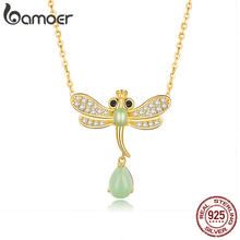bamoer Dragonfly Jade Necklace for Women Genuine 925 Sterling Silver Clear CZ Paved Waterdrop Necklaces Fine Jewelry BSN061(China)