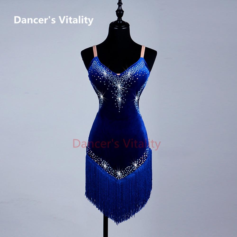 2017 New Style Latin Dance Costume Sexy Senior Spandex Stones Dress Dancing Sleeves LatinDance For Women Latin Dance Dresses