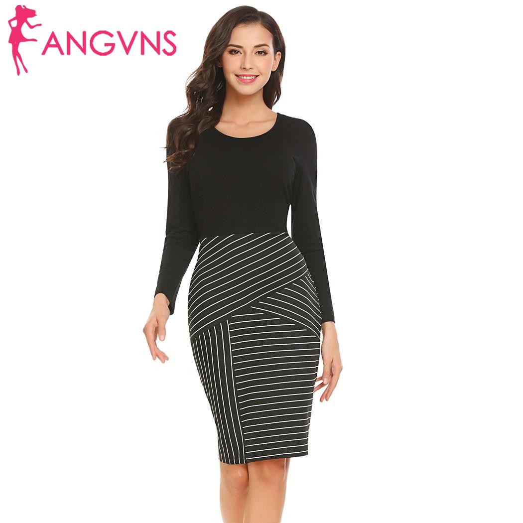 ANGVNS Women OL Patchwork Pencil Dress Casual Business O-Neck Long Sleeve Patchwork Side Zipper Package Hip Dresses Vestidos
