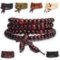 Cheap New Fashion Jóias Bracelete Frisado Handmade Arco 108 Partículas de Madeira De Ébano Contas Pulseiras para As Mulheres Homens Presente Atacado 6mm