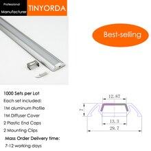 Tinyorda 1000 шт.(длина 1 м) светодиодный профиль Alu светодиодный профиль канала для 13 мм Светодиодные полосы света 1 м светодиодный профиль Alu профильный кабельный канал