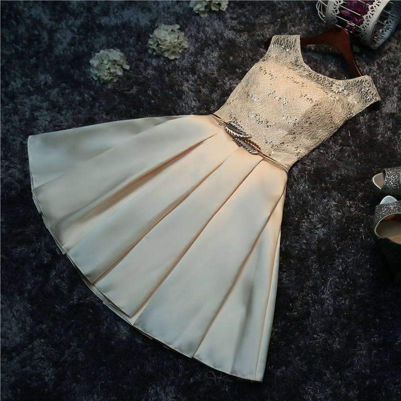 Free shipping 2017 new Real Photo Champagne O-neck Lace Mini Lace Bridesmaid Dresses Short Party Frocks Plus Size A1 1