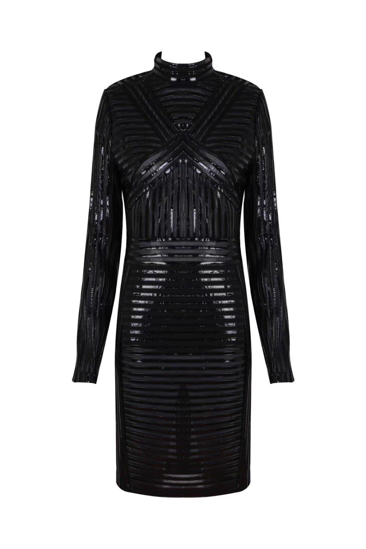 Top Sexy Noir De Celebrity Qualité Designer Femmes Manches Robe À Longues Mode 2018 x4Oqx5wrX
