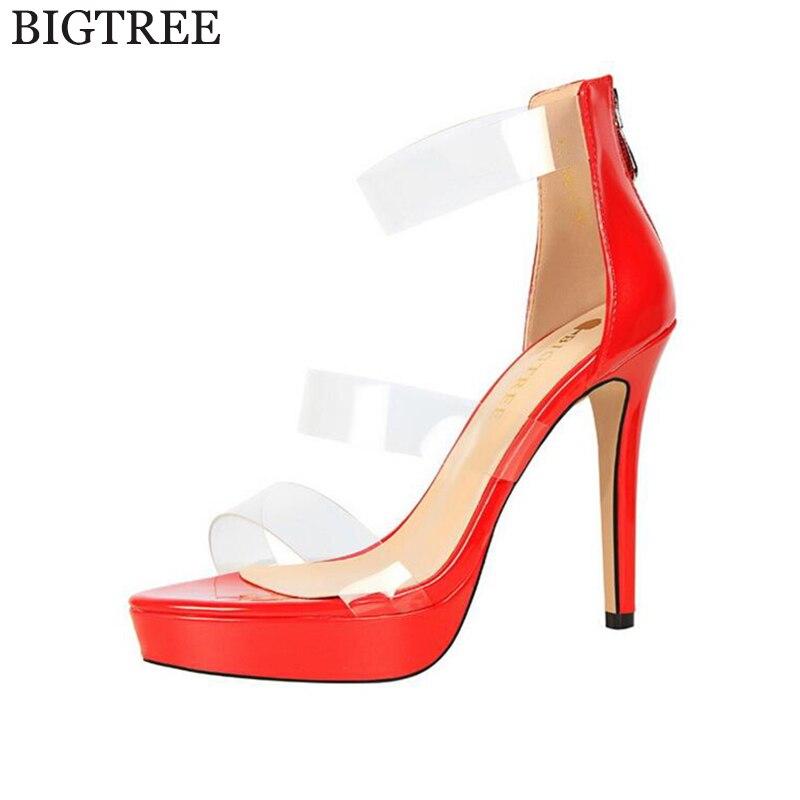 BIGTREE Women s Sandals 2017 Summer European font b Sexy b font Transparent Shoes High Heels