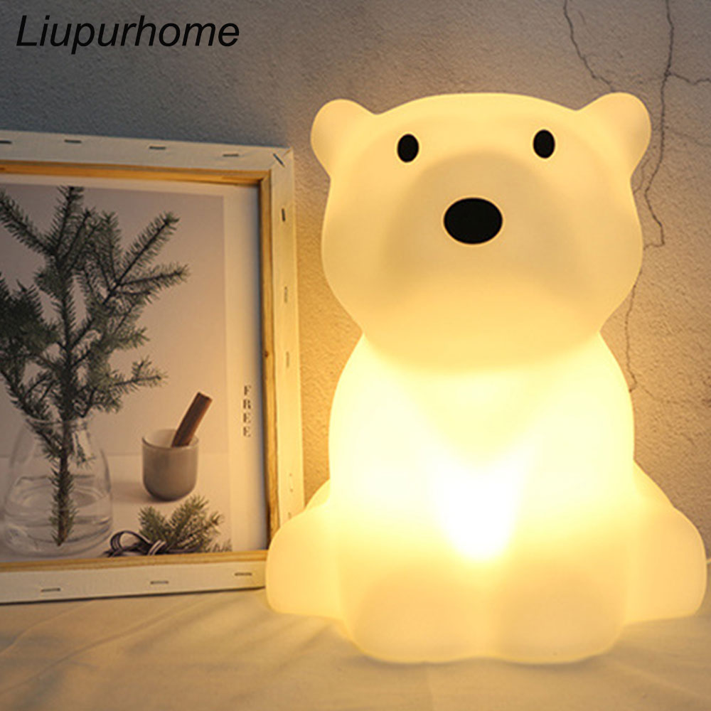 Polar Bear LED Children's Night Light Swivel Dimmable Led Desk Lamps EU US Plug Led Nightlights For Baby Room Home Decor MYC