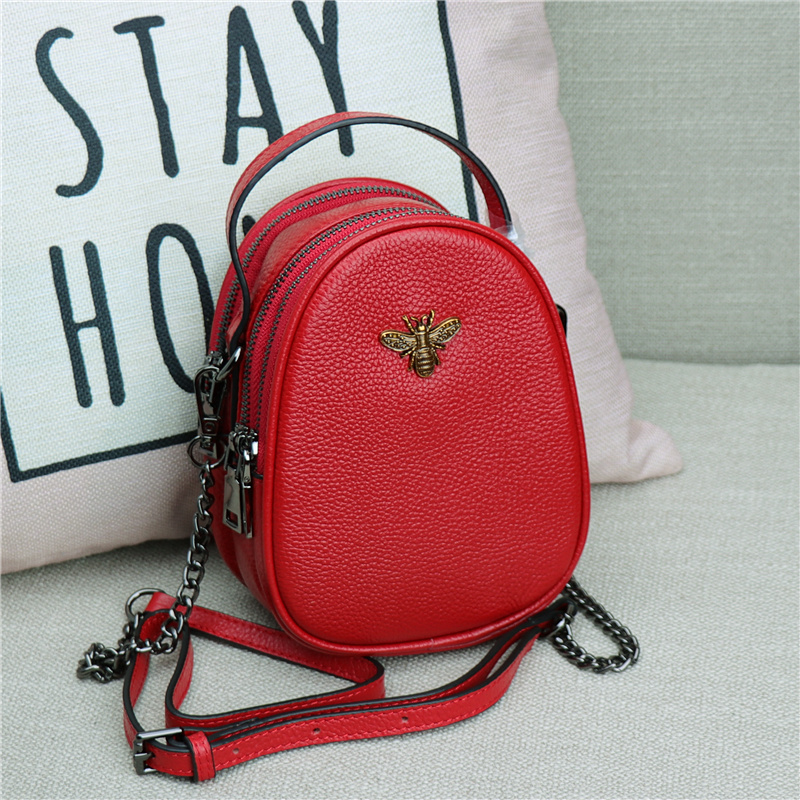 Fashion Women Messenger Bag New Brand Leather Female Shoulder Bag Luxury Diamond Little Bee Woman Handbags Strap Bags Pink Red