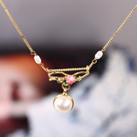 Love Of Symbol Series Enamel Glaze Rose Flower Bow Pearl Necklace Clavicle Chain Woman New Pattern
