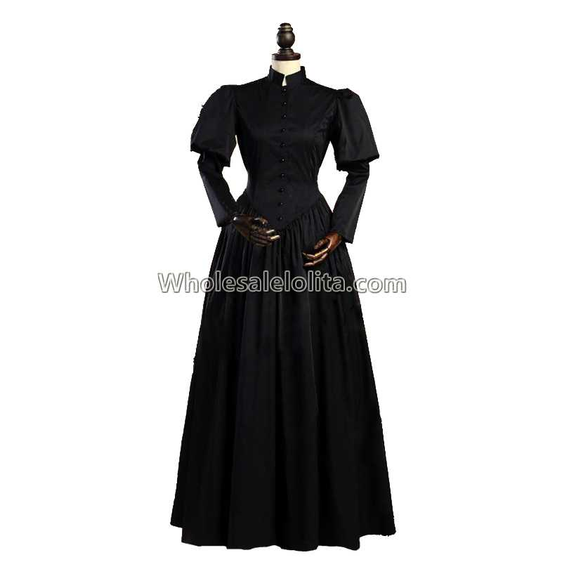 Victorian Edwardian Gothic Steampunk Black Witch Penny Dreadful Frock Gown Dress Theatrical Women Costume penny dreadful volume 1
