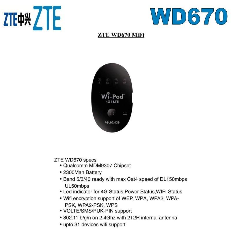Lot of 100pcs ZTE 150Mbps WD670 WI POD Portable 4G LTE Pocket WiFi Router