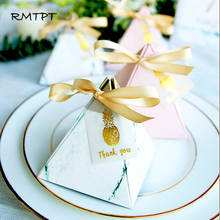 New RMTPT 50pcs/lot Europe High-quality Triangular Pyramid Style Candy Box Wedding Favors Party Supplies Paper Gift Boxes with