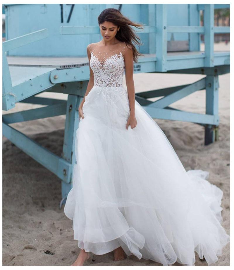 SoDigne New Beach Wedding Dress 2019 White/Ivory Tulle