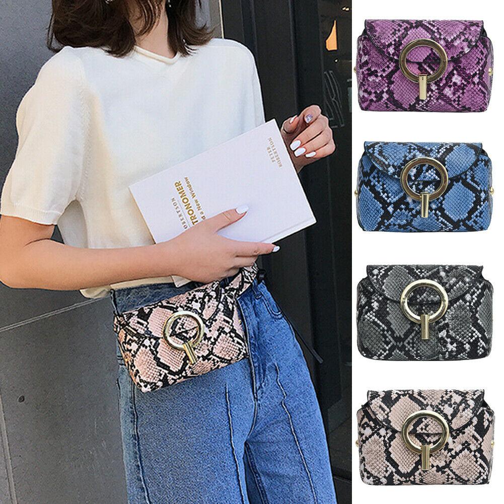 Stylish Women Handbag Satchel Snake Skin Print Shoulder Waist Bag Purse Satchel