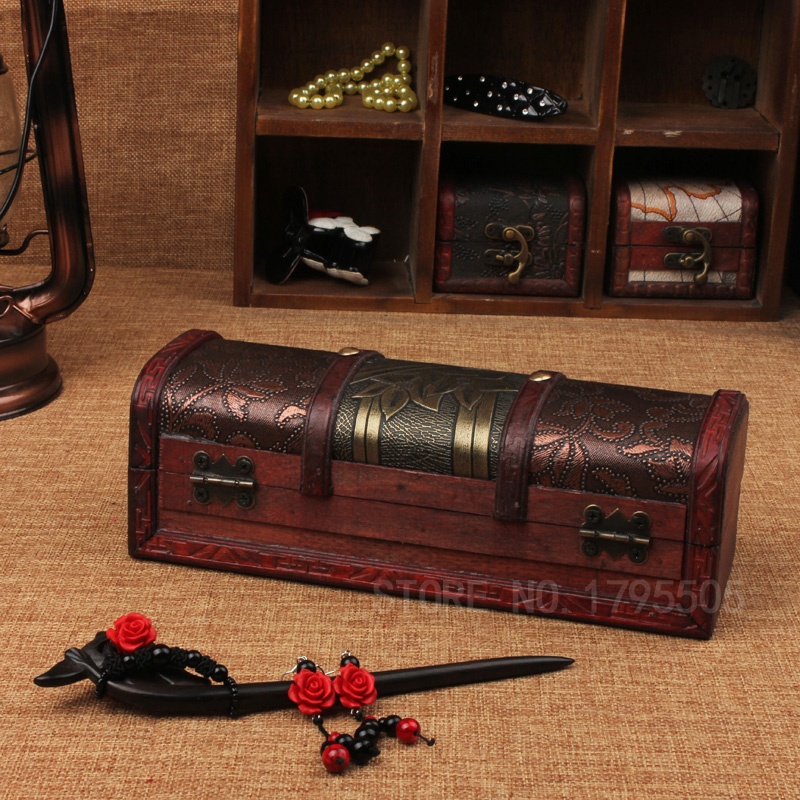 New Classical Box Wooden Box Storage Box Jewelry Case Creative Gifts Craft Props Home Decoration Texture Library bar Retro Boxes