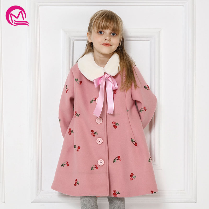 MQ New Coat for baby girls outerwear coats children 2018 girl winter jacket for kids in for long sleeve Cherry embroidered coat sequin embroidered zip up jacket