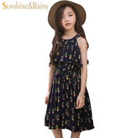 Big Girl Summer Dress Brand Chiffon Bohemian Flower Printed Ruffles Beach Dress For Teenage Kids Dress