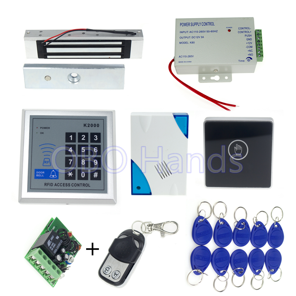 Full Complete Rfid Door Lock Access Control Keypad Kit +Electric Bolt Lock+Power+Remote +Door Bell rfid keypad access control n005 bolt lock kit