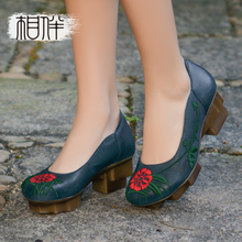 2017 thick heels women shoes vintage platform women pumps round toe genuine leather Chunky Heels