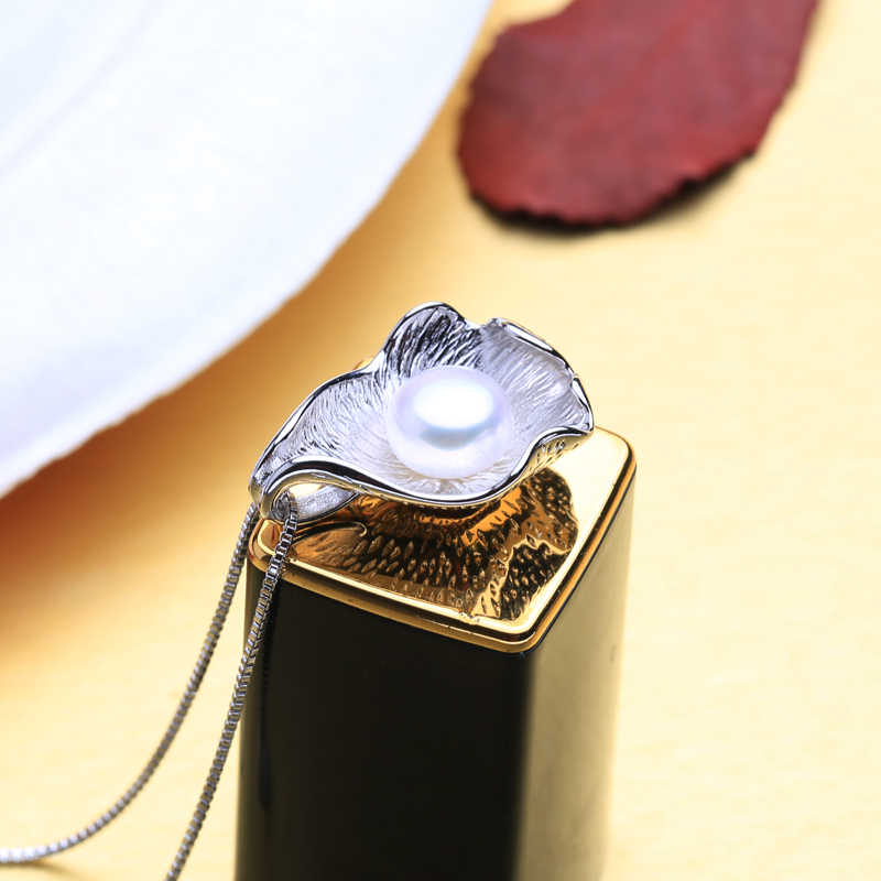 FENASY Brand Fashion Jewelry Sets Natural Pearl Pendant Necklace Women Shell Shape 925 Sterling Silver Stud Earrings 8-9mm Pearl