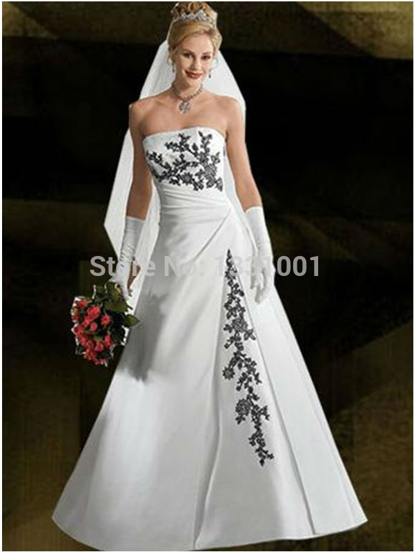 New Sexy Plus Size Wedding Dress Black And White Bridal Gowns 2016