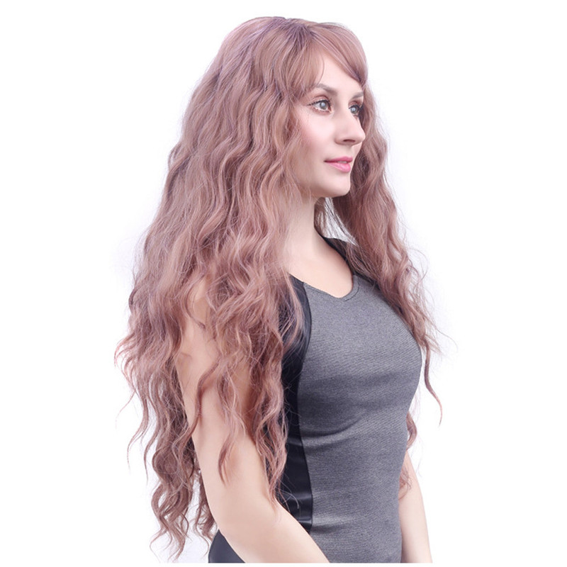 Women Fashion wigs front lace Lady Long Wavy Curly Full Wig Air Bang Water Wave Hair short body wave wigs front lace 52223A