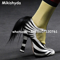 Classic Sexy Round Toe High Heels Women Mary Jane Pumps Shoes Zebra Leopard Spring Wedding Fur/Feather Pump Big Plus Size 35 42
