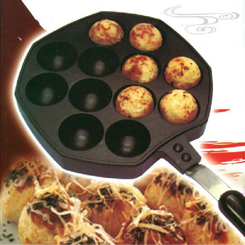 12 löcher takoyaki pan krake bälle maker grill form brennen platte mit griff diy küche kochen werkzeuge ct065