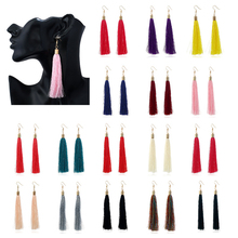 adf6e97a5 Vintage Ethnic Long Tassel Drop Earring for Women Jewelry Fashion Black  White silk Dangle Earrings for