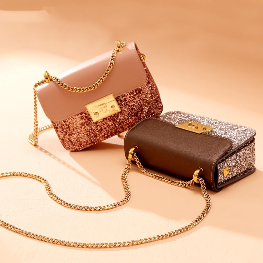 Fashion women shoulder bag high quality sequined flap female chain