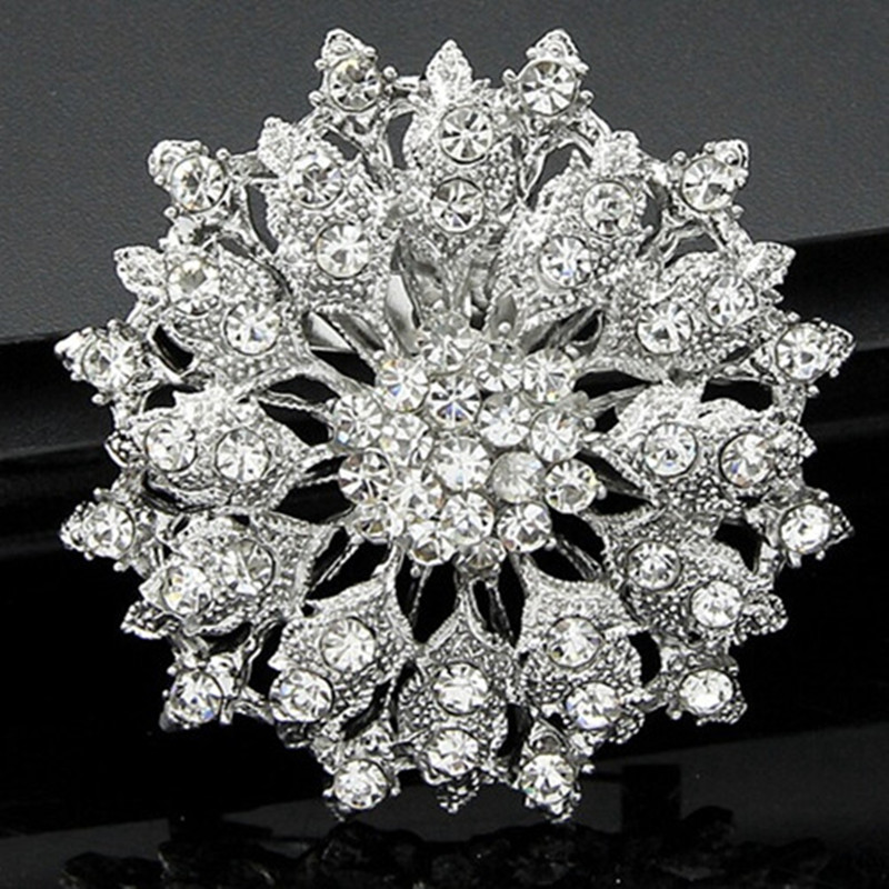 DHL Free Shipping Vintage Flower Brooch With Diamante For Bridal Bouquet Women Dress Elegant Jewelry Brooch
