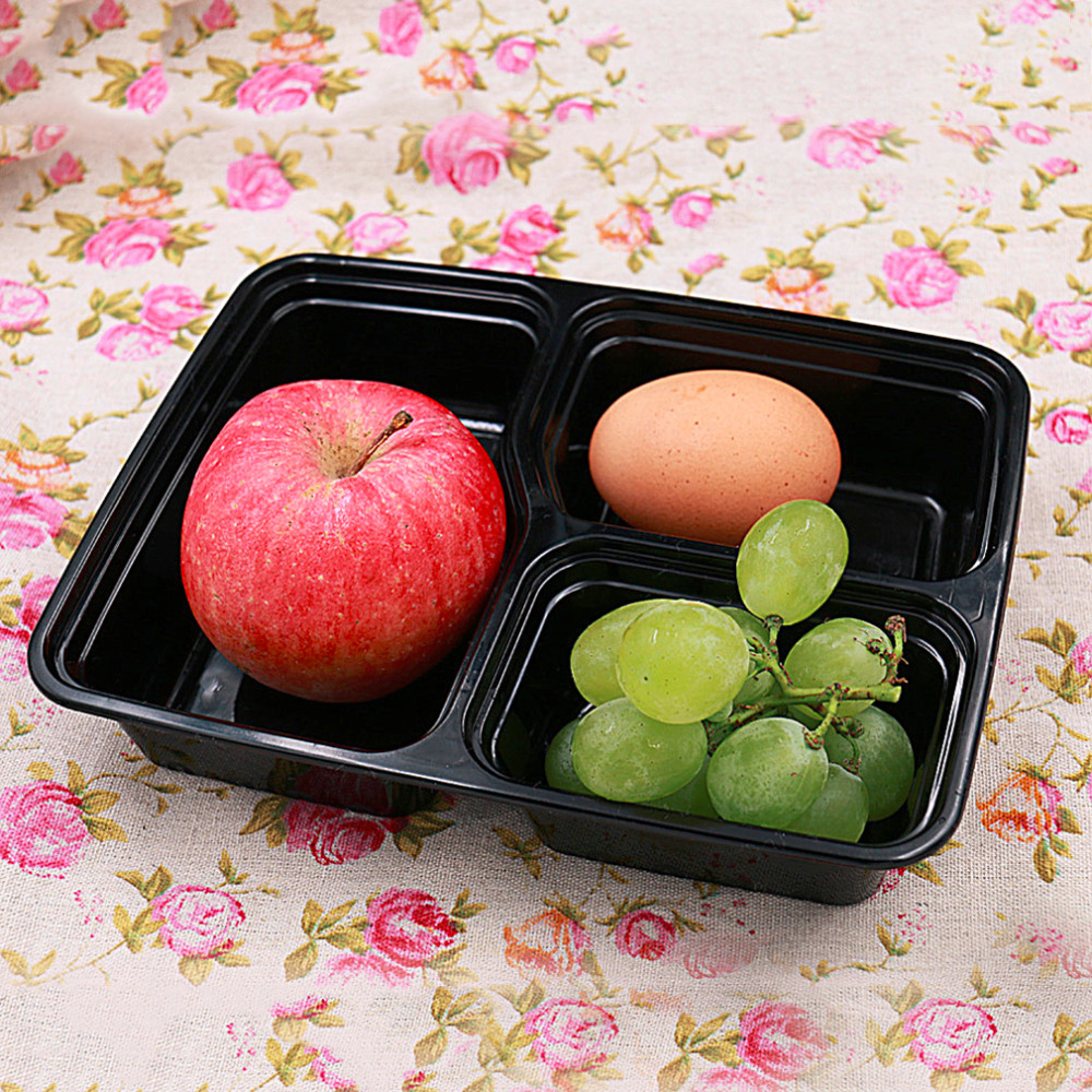 10 pz 3 Vano Contenitori Per Alimenti Con Coperchi Bento Lunchbox Picnic Cibo Frutta Scatola di Immagazzinaggio Forno A Microonde Sicuro Lavastoviglie