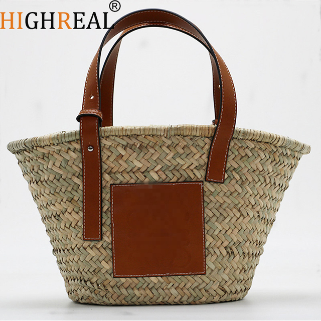 1f45ff74655c HIGHREAL Summer Style Beach Bag Women Straw Shoulder Bag Brand Designer  Handbags High Quality Ladies Casual Travel Bags